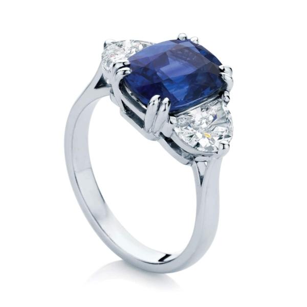 Cushion Three Stone Engagement Ring Platinum | Grace