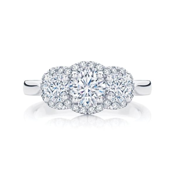 Round Three Stone Engagement Ring Platinum | Halo Trilogy