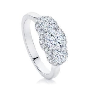 Round Three Stone Engagement Ring Platinum   Halo Trilogy