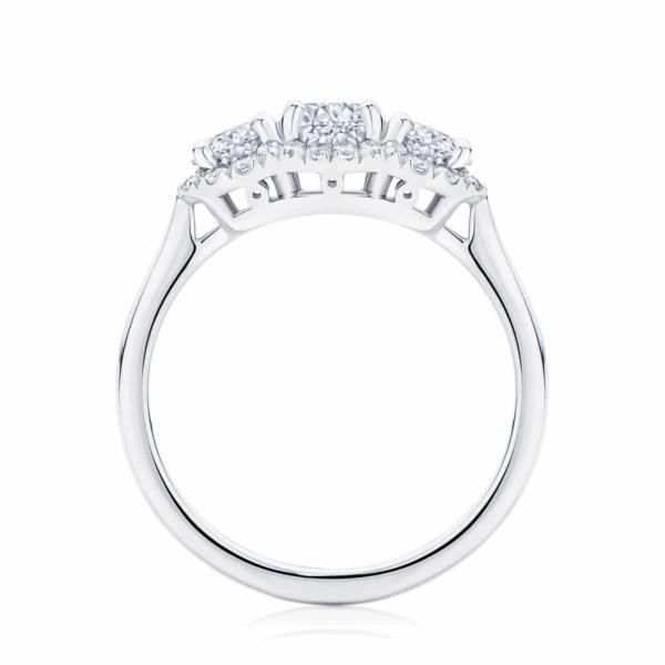 Round Three Stone Engagement Ring White Gold | Halo Trilogy