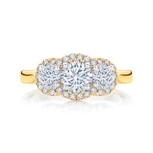 Round Three Stone Engagement Ring Yellow Gold | Halo Trilogy
