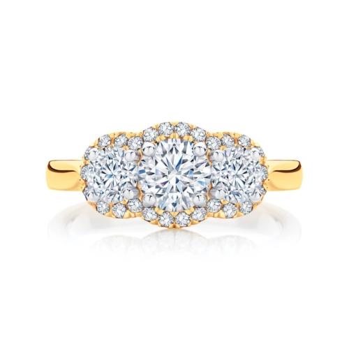 Round Three Stone Engagement Ring Yellow Gold   Halo Trilogy