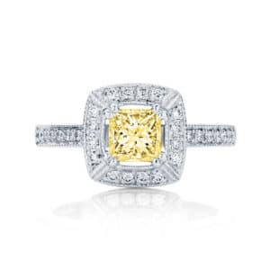 Princess Halo Engagement Ring White Gold | Honour (Fancy Yellow)