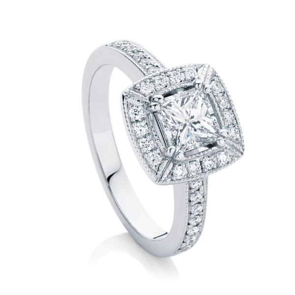 Princess Halo Engagement Ring Platinum | Honour