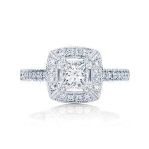 Princess Halo Engagement Ring White Gold | Honour