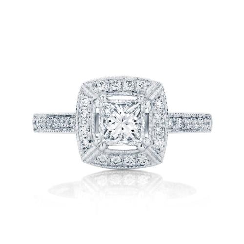 Princess Halo Engagement Ring White Gold   Honour