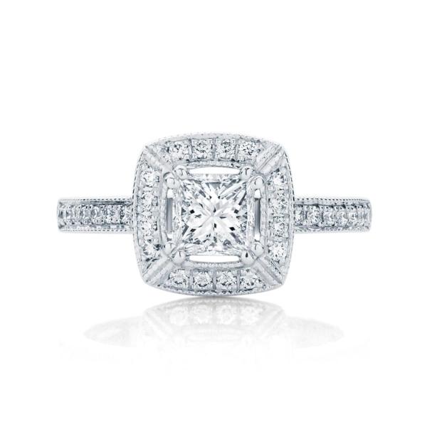Princess Halo Engagement Ring White Gold | Honour