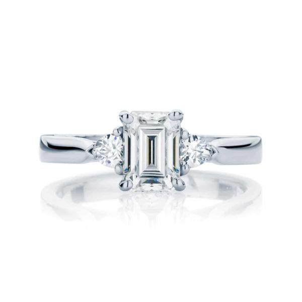 Emerald Three Stone Engagement Ring Platinum | Luna