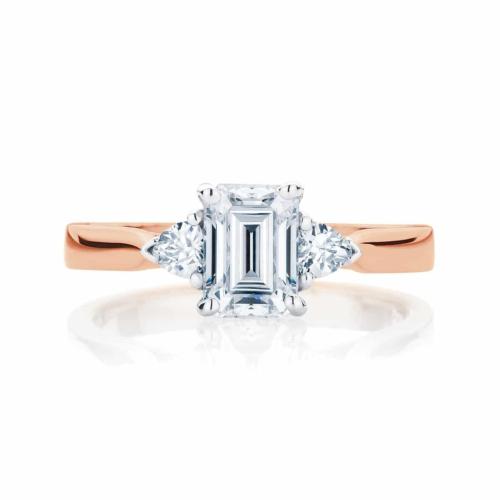Emerald Three Stone Engagement Ring Rose Gold | Luna