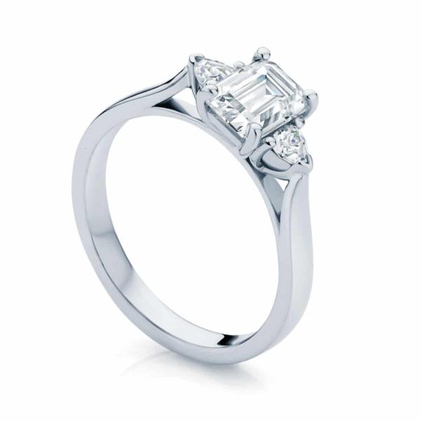 Emerald Three Stone Engagement Ring White Gold | Luna