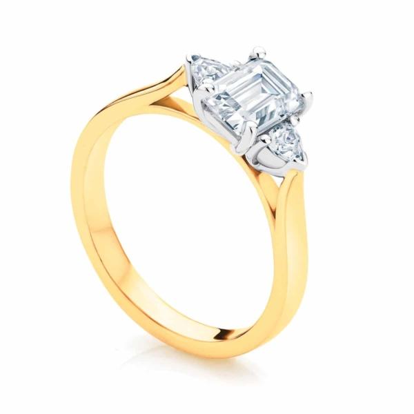 Emerald Three Stone Engagement Ring Yellow Gold | Luna