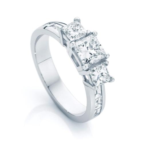 Princess Three Stone Engagement Ring Platinum   Mercury