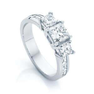 Princess Three Stone Engagement Ring White Gold | Mercury