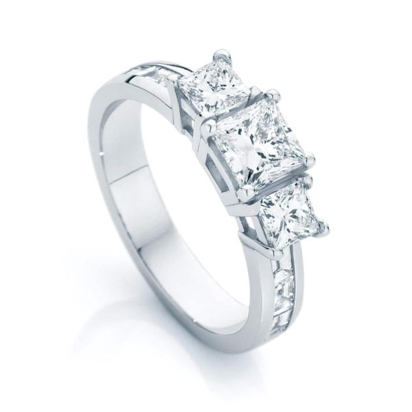 Princess Three Stone Engagement Ring White Gold | Mercury