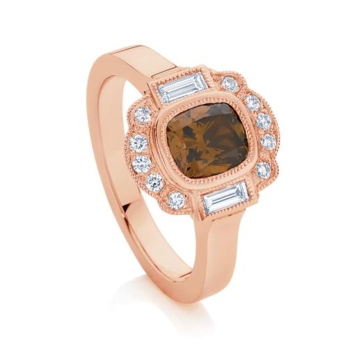 Cushion Vintage Engagement Ring Rose Gold   Messina