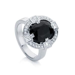 Oval Halo Engagement Ring Platinum | Midnight Sky