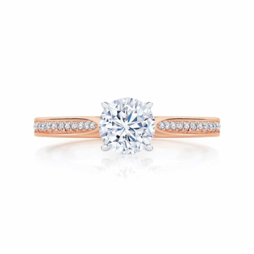 Round Side Stones Engagement Ring Rose Gold | Mirage
