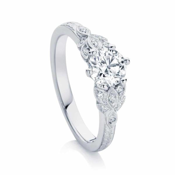 Round Engraved Engagement Ring Platinum | Morning Star II