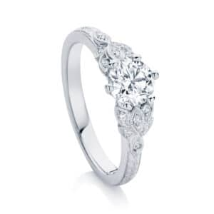 Round Engraved Engagement Ring White Gold | Morning Star II