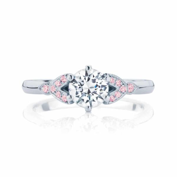 Side Stones Engagement Ring White Gold | Morning Star IV