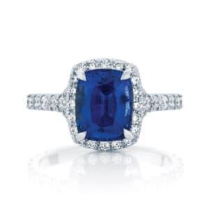 Cushion Halo Engagement Ring Platinum | Nightsky