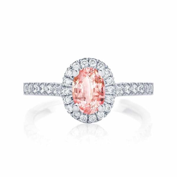 Oval Halo Engagement Ring Platinum | Peach Rosetta