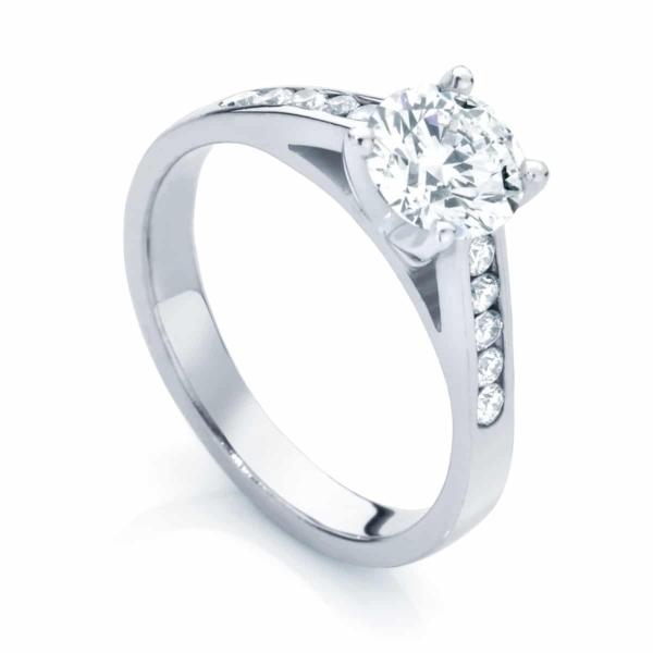 Round Side Stones Engagement Ring White Gold | Poppy