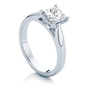 Princess Solitaire Engagement Ring White Gold | Principessa