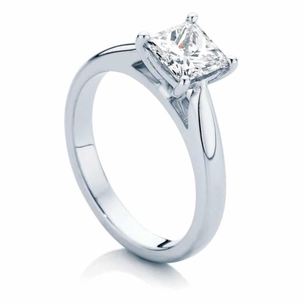 Princess Solitaire Engagement Ring White Gold | Principessa