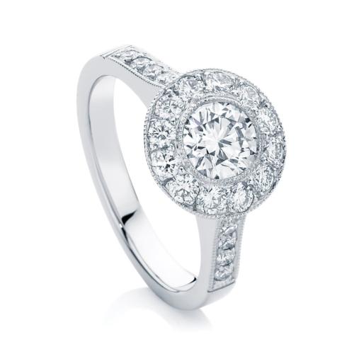Round Halo Engagement Ring Platinum   Purity