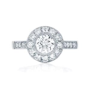 Round Halo Engagement Ring White Gold | Purity