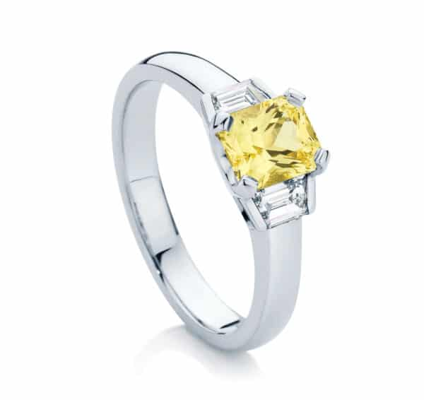 Radiant Three Stone Engagement Ring Platinum | Radiance