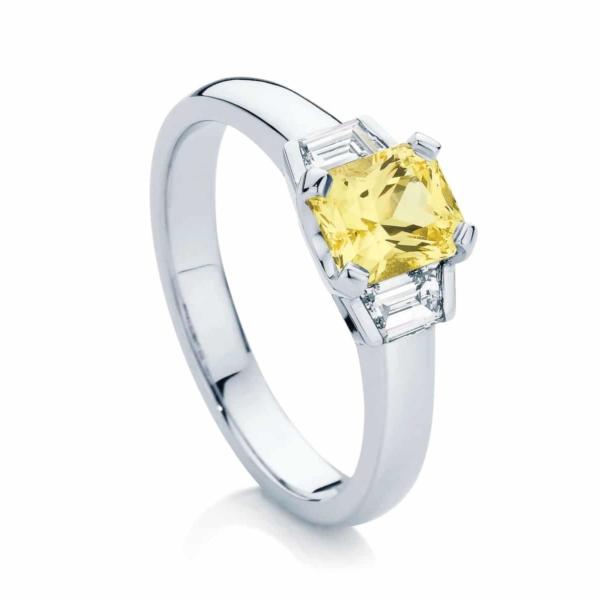 Radiant Three Stone Engagement Ring White Gold   Radiance