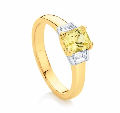 Radiant Three Stone Engagement Ring Yellow Gold | Radiance