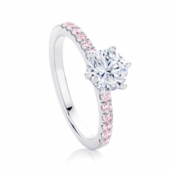 Round Side Stones Engagement Ring Platinum   Rose Amore IV