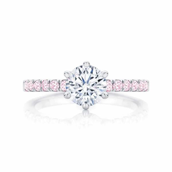 Round Side Stones Engagement Ring Platinum | Rose Amore