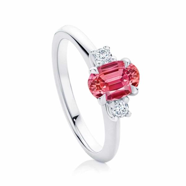 Oval Three Stone Engagement Ring Platinum | Rose Trio