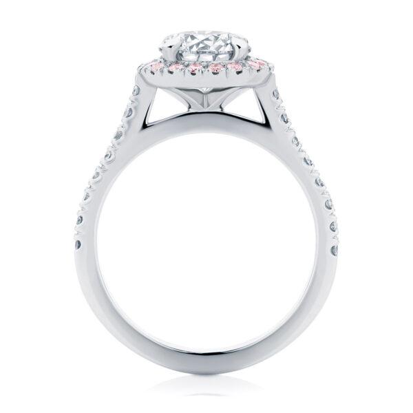 Halo Engagement Ring Platinum   Rosetta (Brilliant) III