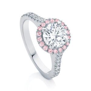 Round Halo Engagement Ring Platinum   Rosetta (Brilliant) IV
