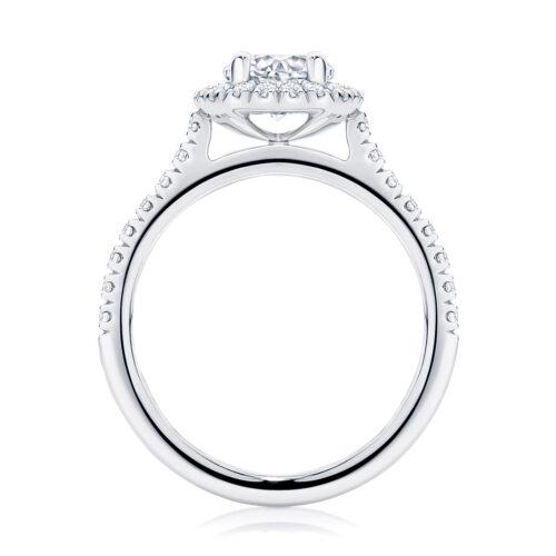Round Halo Engagement Ring Platinum | Rosetta (Brilliant)