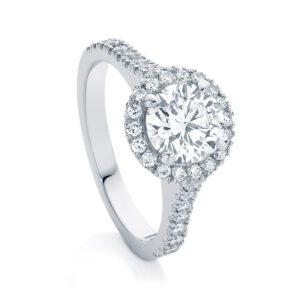 Round Halo Engagement Ring Platinum   Rosetta (Brilliant)