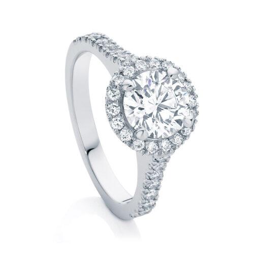 Round Halo Engagement Ring White Gold | Rosetta (Brilliant)