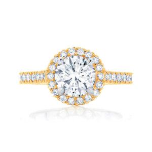 Round Halo Engagement Ring Yellow Gold | Rosetta (Brilliant)