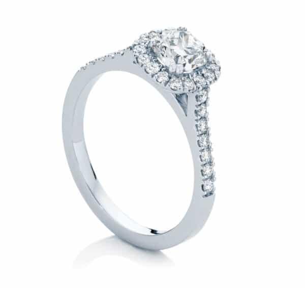 Cushion Halo Engagement Ring Platinum   Rosetta