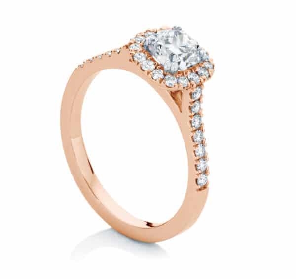 Cushion Halo Engagement Ring Rose Gold | Rosetta