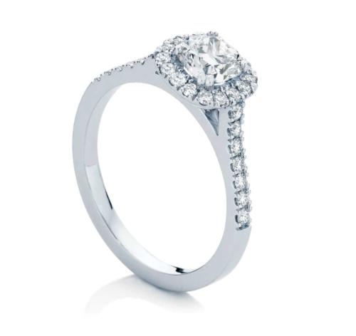 Cushion Halo Engagement Ring White Gold | Rosetta