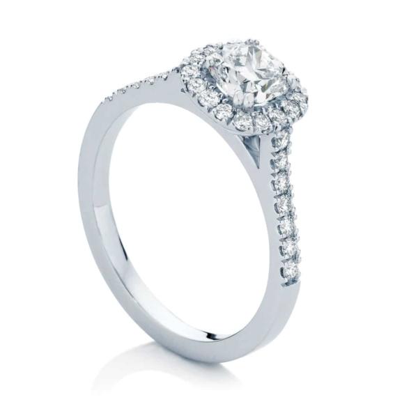 Cushion Halo Engagement Ring White Gold   Rosetta