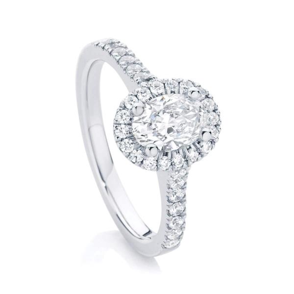 Halo Engagement Ring White Gold | Rosetta (Oval)