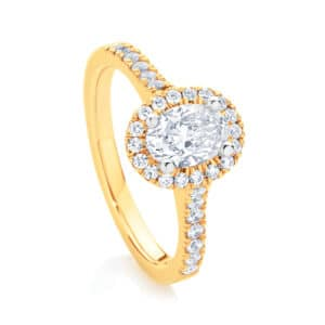 Oval Halo Engagement Ring Yellow Gold | Rosetta (Oval)