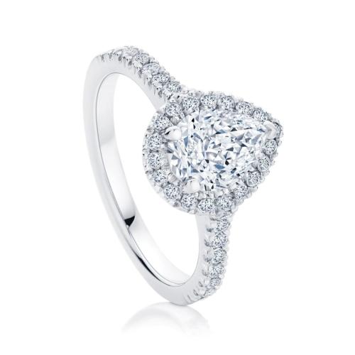 Pear Halo Engagement Ring Platinum   Rosetta (Pear)